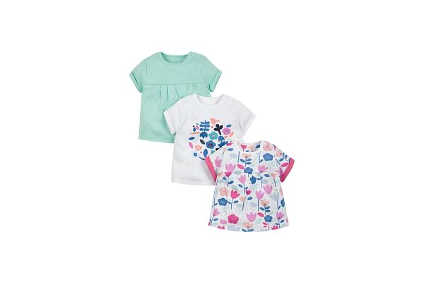 Girls Floral And Plain T-Shirts - Pack Of 3