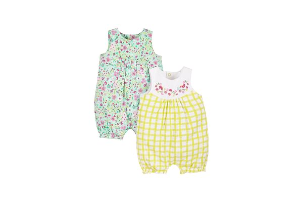 Girls Floral And Gingham Rompers - Pack Of 2