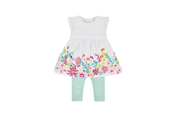 Girls Border Print Dress And Leggings Set