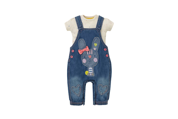 Girls Half Sleeves Bodysuit And Dungaree Set 3D Bow Detail - Blue