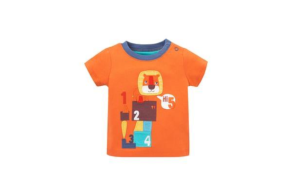 Boys Half Sleeves T-Shirt Lion Patchwork - Orange