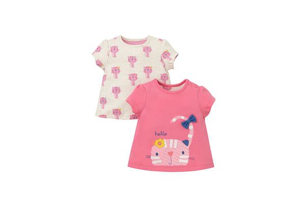 Girls Half Sleeves T-Shirt Cat Patchwork - Pack Of 2 - Pink