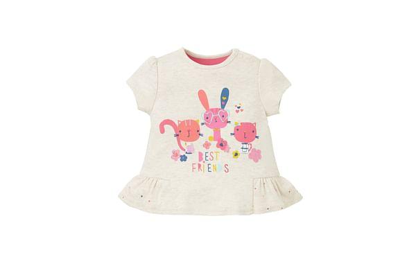 Girls Half Sleeves T-Shirt Embroidered - Beige