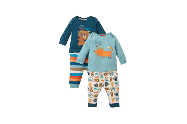 Boys Full Sleeves Pyjama Set Bear And Fox Patchwork - Pack Of 2 - Multicolor