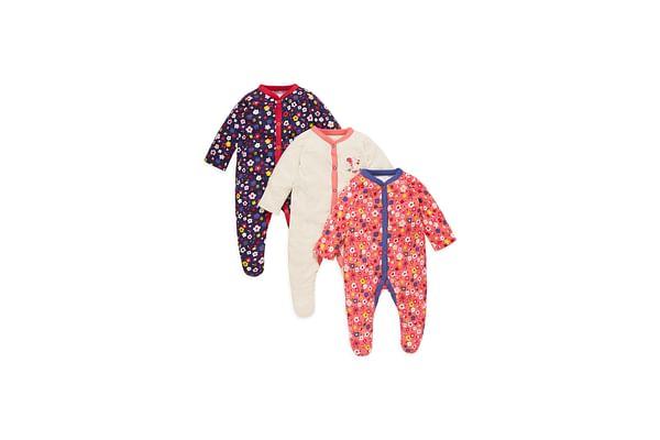 Girls Full Sleeves Sleepsuit Floral Print - Pack Of 3 - Multicolor