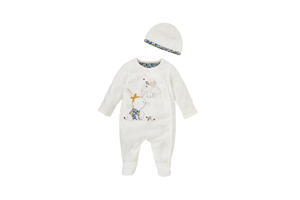 Girls Full Sleeves Romper With Hat Bunny Patchwork - Cream