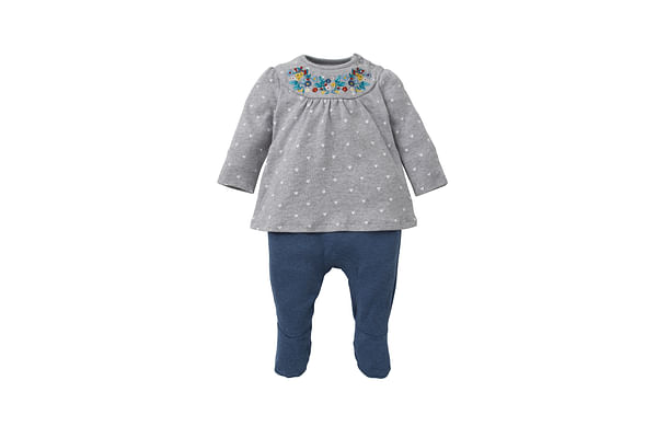 Girls Full Sleeves Romper Embroidered - Grey