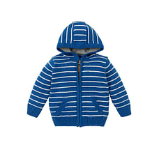 Boys Full Sleeves Hooded Cardigan Striped - Blue