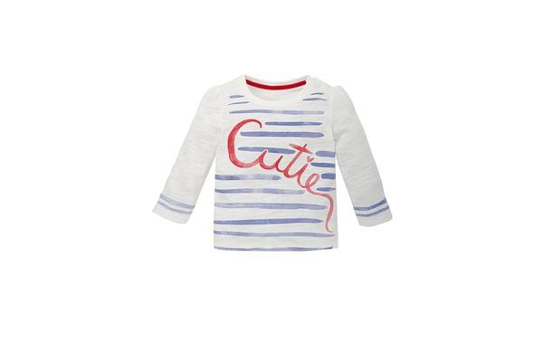 Girls Full Sleeves T-Shirt Stripe And Text Print - White