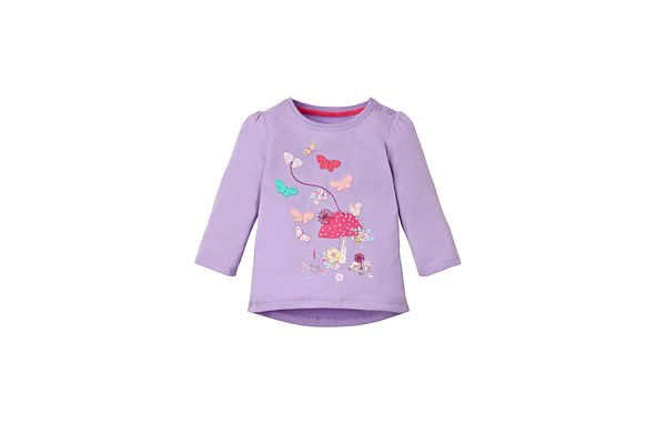 Girls Full Sleeves T-Shirt Embroidered - Lilac