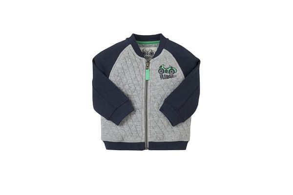 Boys Full Sleeves Quilted Sweatshirt Zip Opening - Grey