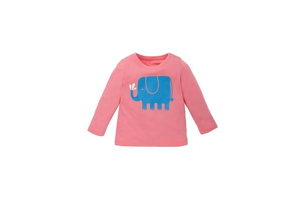 Girls Full Sleeves T-Shirt Elephant Print - Pink