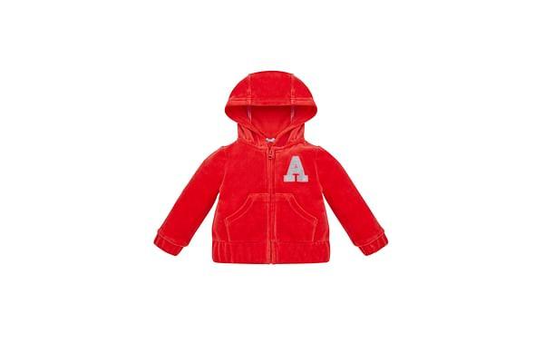 Girls Full Sleeves Velour Hooded Sweatshirt Glitter Print - Red