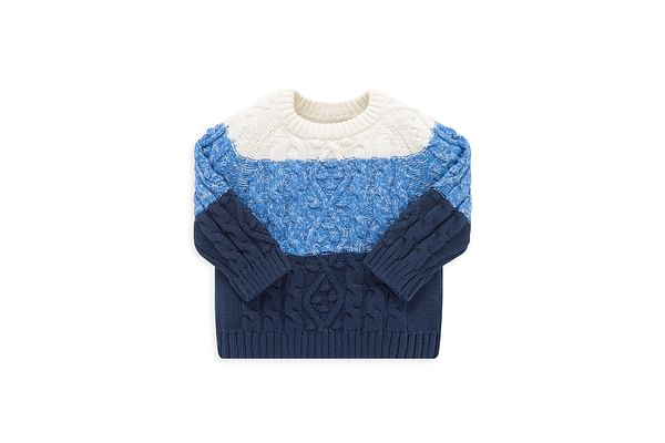 Boys Full Sleeves Sweater Cable Knit - Blue