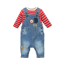 Boys Full Sleeves Denim Dungaree Set Patchwork - Blue