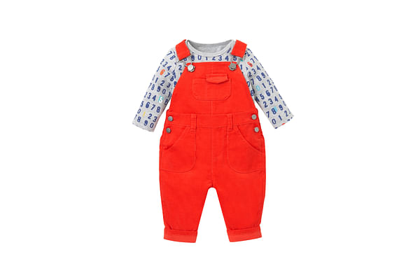 Boys Full Sleeves Cord Dungaree Set Number Print - Red