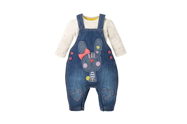 Girls Full Sleeves Denim Dungaree Set Bunny Embroidery - Blue