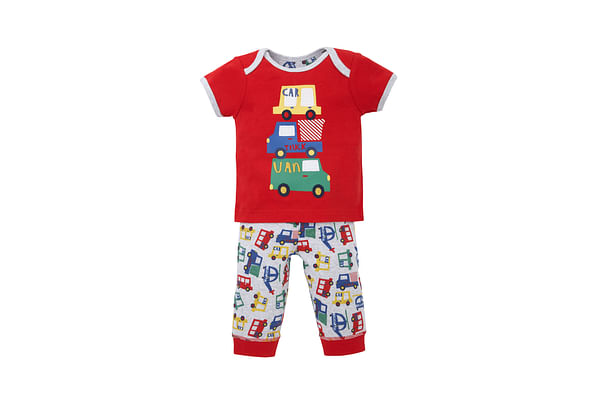 Boys Half Sleeves Pyjama Set Vehicle Patchwork - Red