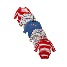 Boys Full Sleeves Bodysuit Striped And Vehicle Print - Pack Of 5 - Multicolor