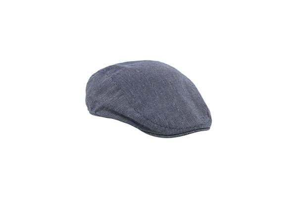 Striped Denim Flat Cap