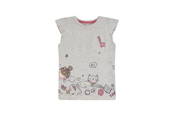 Grey Cat Border T-Shirt