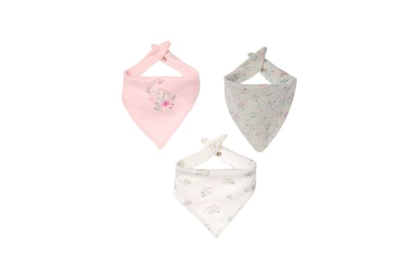 Girls Bibs Floral Bunny Print - Pack Of 3 - White Grey Pink