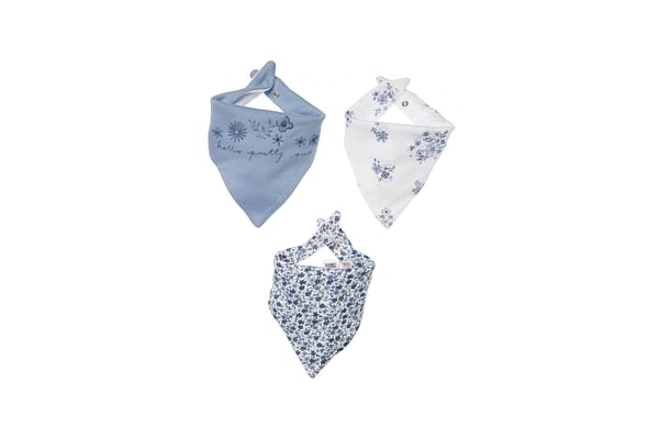 Girls Bibs Floral Print And Embroidery - Pack Of 3 - White Blue