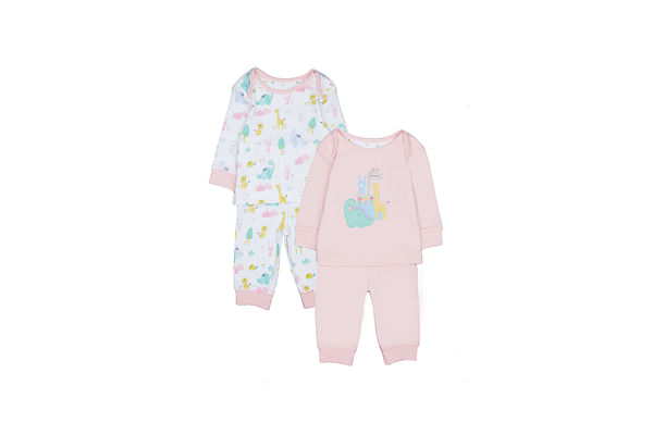 Girls Full Sleeves Dinosaur Patch Pyjamas - Pack Of 2 - Pink