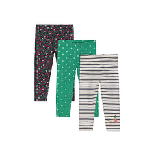 Striped, Spot And Floral Leggings - 3 Pack