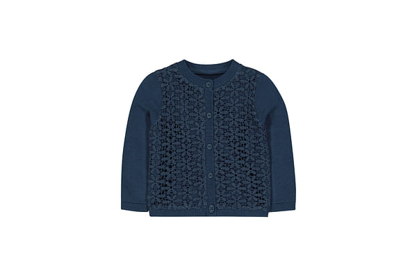 Navy Woven Front Cardigan