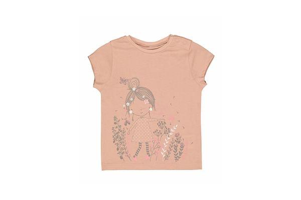 Girls Half Sleeves T-Shirt Text Print - Pink