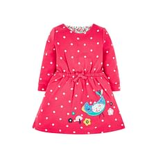 Girls Full Sleeves Dress Polka Dot Print With Embroidery - Red