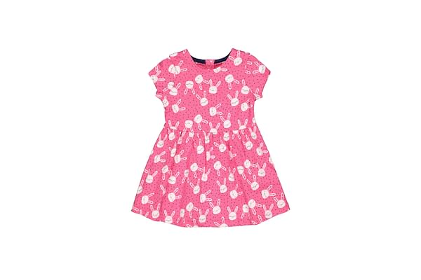 Girls Half Sleeves Dress Bunny Print - Pink