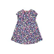 Girls Half Sleeves Dress Floral Print - Navy