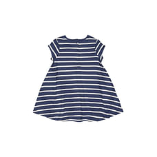 Girls Half Sleeves Dress Stripe - Navy