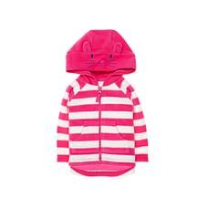 Pink Stripe Bunny Fleece Hoodie