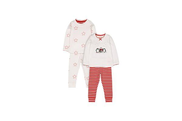 Girls Full Sleeves Pyjamas Cute Stripe Star And Penguin Print - Pack Of 2 - Cream