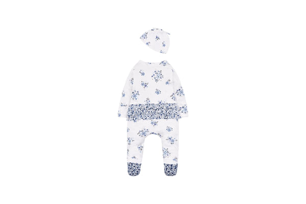 Girls Full Sleeves Floral Print Romper With Hat - White
