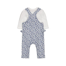 Girls Full Sleeves Dungaree Set Pretty Floral Print - Blue White