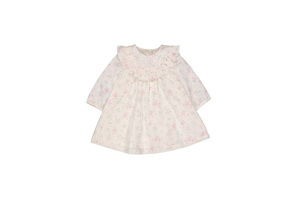 Girls Full Sleeves Casual Dress Floral Print And Ruffles - Pink