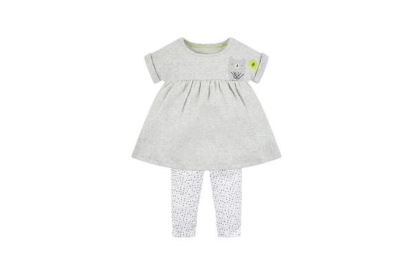 Girls Half Sleeves Dress And Legging Set Bear Print - Grey White
