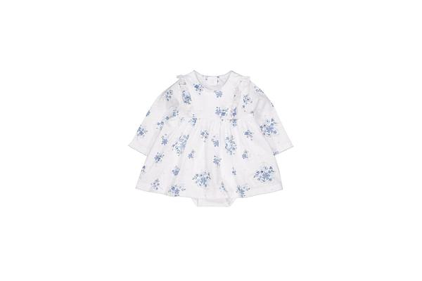 Girls Full Sleeves Romper Dress Floral Print - Blue White