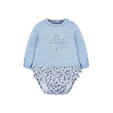 Girls Full Sleeves Floral Print Mock Bodysuit - Blue