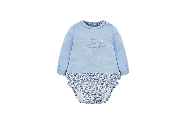 Girls Full Sleeves Floral Print Mock Bodysuit - Blue