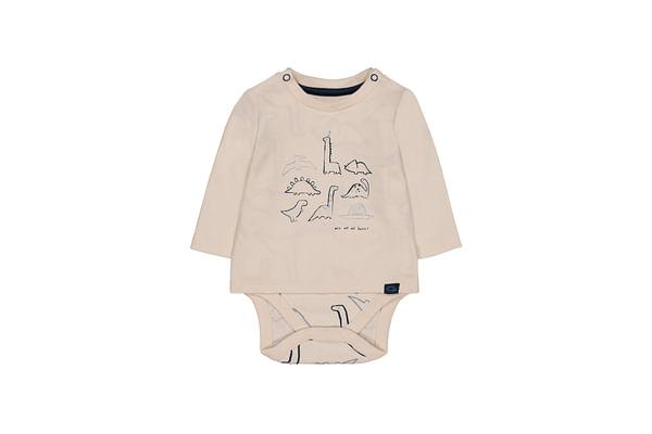 Boys Full Sleeves Dinosaur Print Bodysuit - Cream