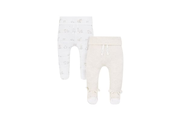 Unisex Joggers Giraffe Print And Embroidery - Pack Of 2 - Beige White
