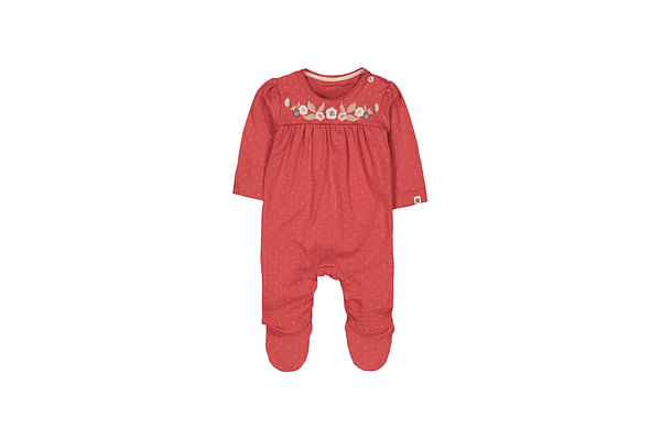 Girls Full Sleeves Embroidered Floral Romper - Red