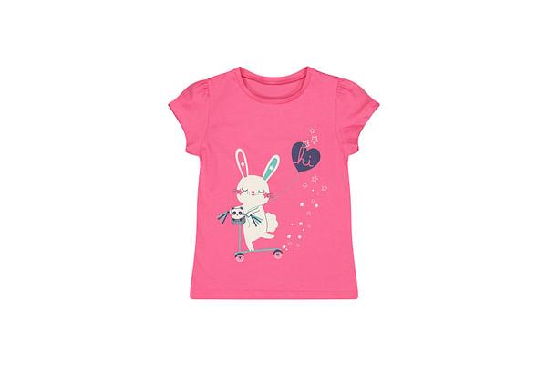 Girls Half Sleeves Bunny Print T-Shirt - Pink