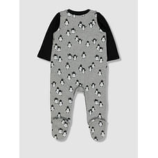Unisex Full Sleeves Penguin Print Dungaree Set - Grey