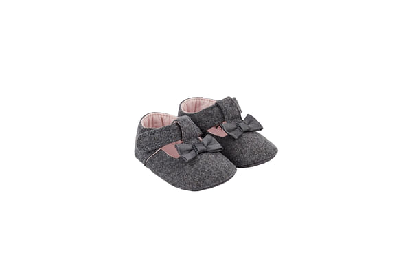 Grey Bow T-Bar Pram Shoes